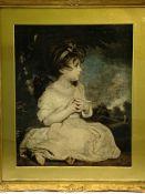 Gilt framed print of a girl sitting in a landscape