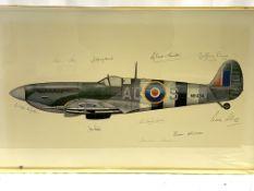 Two prints of Spitfires, signed