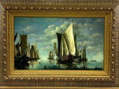 Ornate gilt framed oil on metal of sailing ships