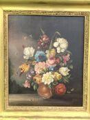 Heavy gilt framed oil on canvas still life flowers after Jan Van Os
