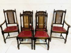 Set of six oak framed cane backed dining chairs