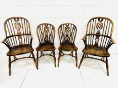 A group of 4 oak and elm chairs