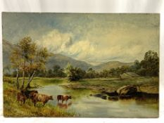 H C Copson unframed oil on canvas of cattle watering at a river.