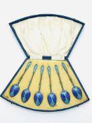 A set of 6 silver gilt and enamel teaspoons, 1932, by Walker & Hall, in original fan-shaped case