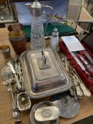 Quantity of silver plate, mainly cutlery, and other items.