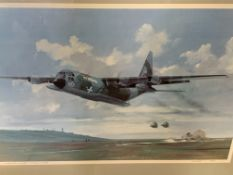 Framed and glazed limited edition print of a Hercules airplane