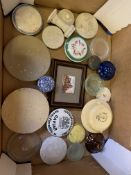 20 Victorian and Edwardian pot lids, Georgian pot lid, and one other