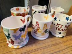 Six Emma Bridgewater pottery mugs