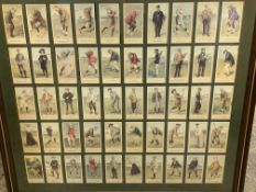 Framed and glazed Cope's cigarette cards of early 20th century golfers