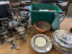 Quantity of china and metalware.