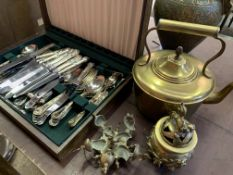 Wooden canteen of George Butler and Co silver plate King's pattern cutlery and other metalware.