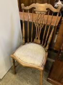 Elm framed rail back chair with padded seat
