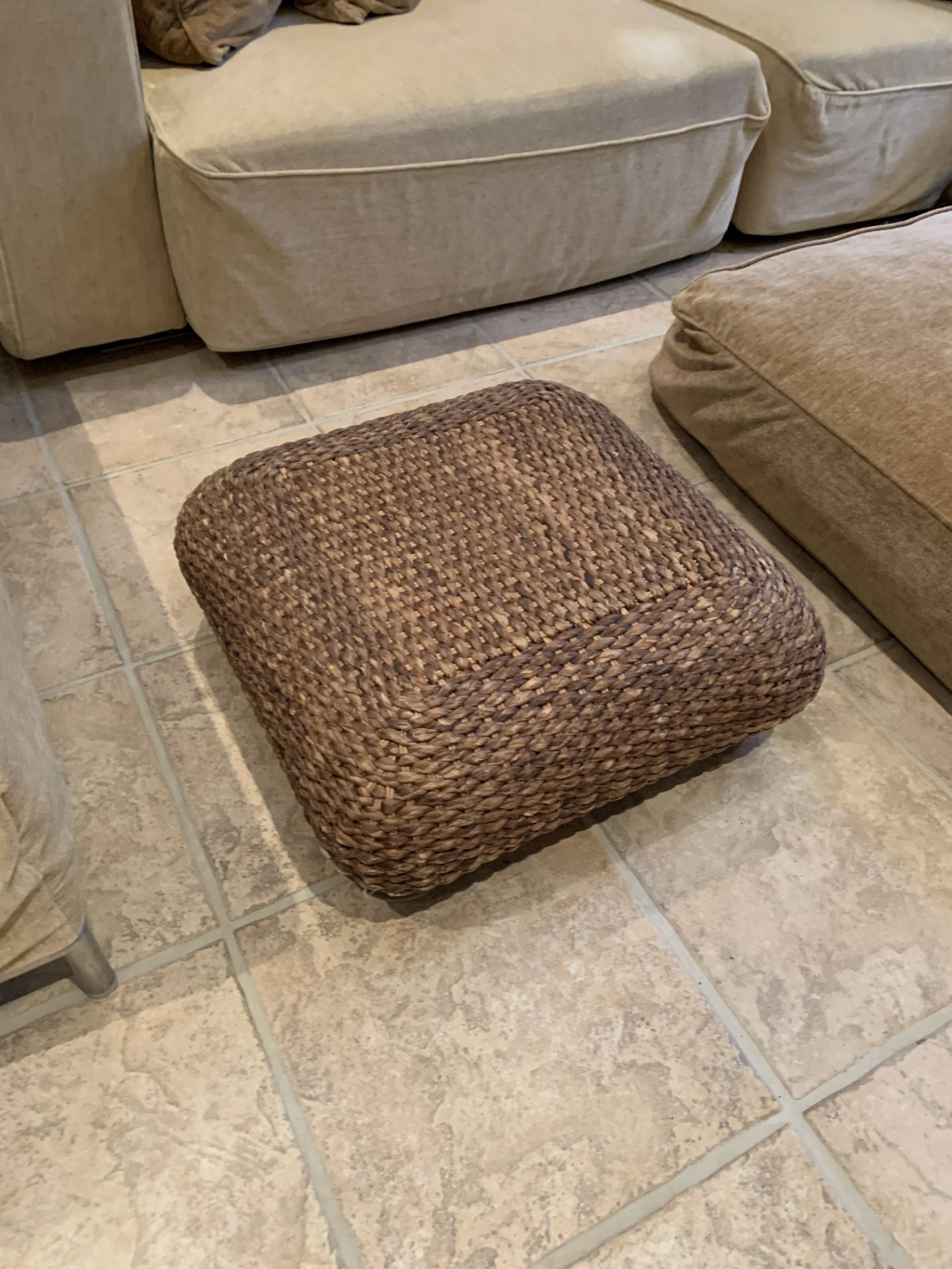 Light brown sofa, a light brown day bed, light brown floor cushion and a rattan stool - Image 5 of 5