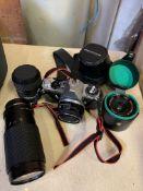 Camera case with a Pentax ME super camera and accessories