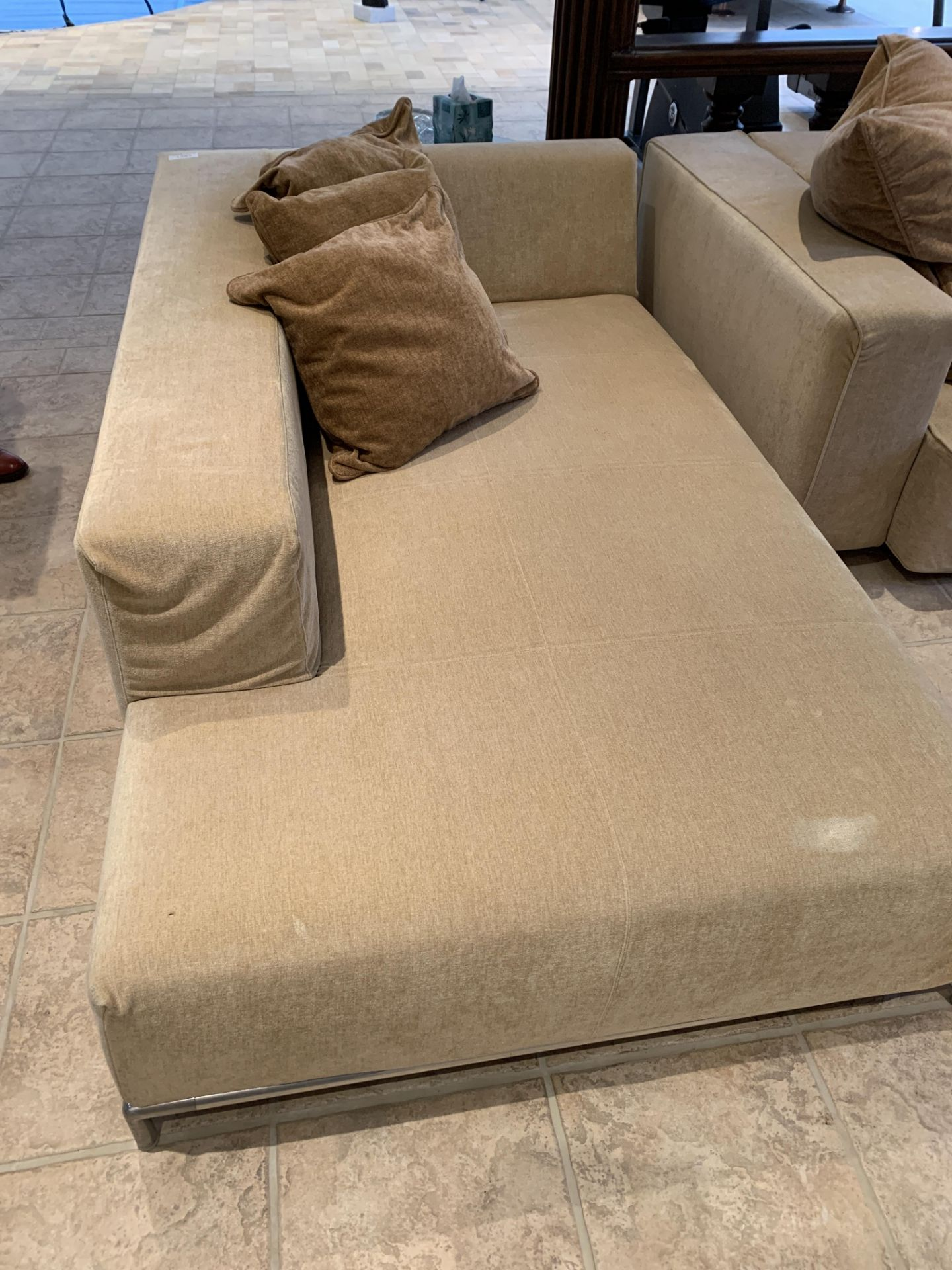 Light brown sofa, a light brown day bed, light brown floor cushion and a rattan stool - Image 4 of 5