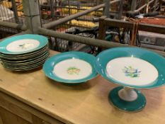 12 pieces of blue hand painted and floral Copeland china.