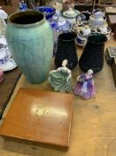 Mahogany box of silver plated fish knives and forks, art pottery, cut to clear vase, other items