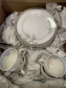 Eight Vera Wang Wedgwood plates and four Burleigh cups and saucers