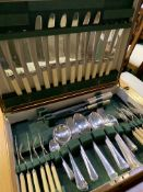 Canteen of six place setting silver plate and bone handled cutlery