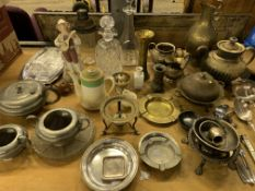 Quantity of metal ware including silver plate ladle and serving spoon by Weir