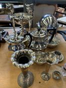 Collection of silver plate ware.