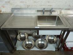 Diaminox single bowl, single drainer sink