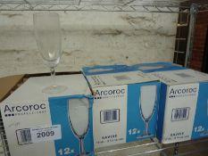 Thirty six Arcoroc wine glasses
