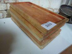 Five wooden serving boards