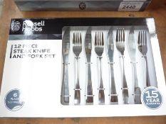 Twelve piece Russell Hobbs Steak knife and fork set.