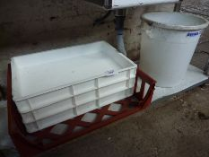 Four plastic trays and a bucket