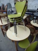 Wooden table with 5 wooden chairs