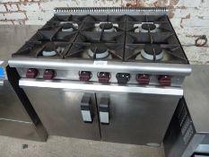 Moorwood Vulcan natural gas six burner oven on castors