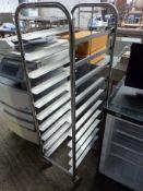 Ten tier tray trolley