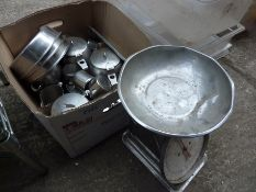 Stainless steel tea pots; milk pots and scales