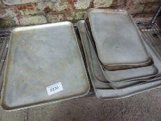 Ten various baking trays