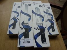 Four Le Cordon Bleu knives, small and large santoku, bread and utility