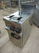 Lincat electric twin pan freestanding fryer.