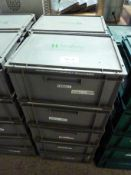 Ten plastic storage boxes