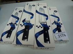 Four Le Cordon Bleu knives, small & large Santoku, bread & utility