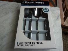 Sixteen piece Russell Hobbs Vermont cutlery set.