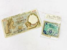 "1944, French War time issue ""100 Franc"" banknote together with three other notes."