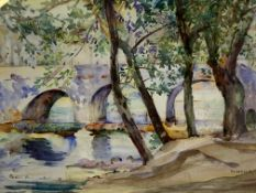 Framed and glazed watercolour of trees by a river and a bridge, signed M Wells