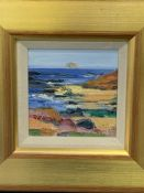 Gold painted wooden framed and glazed oil painting, signed J I Bridgland