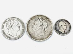 George IV Crown 1822, a William IV half crown 1837 and a William IV shilling 1834