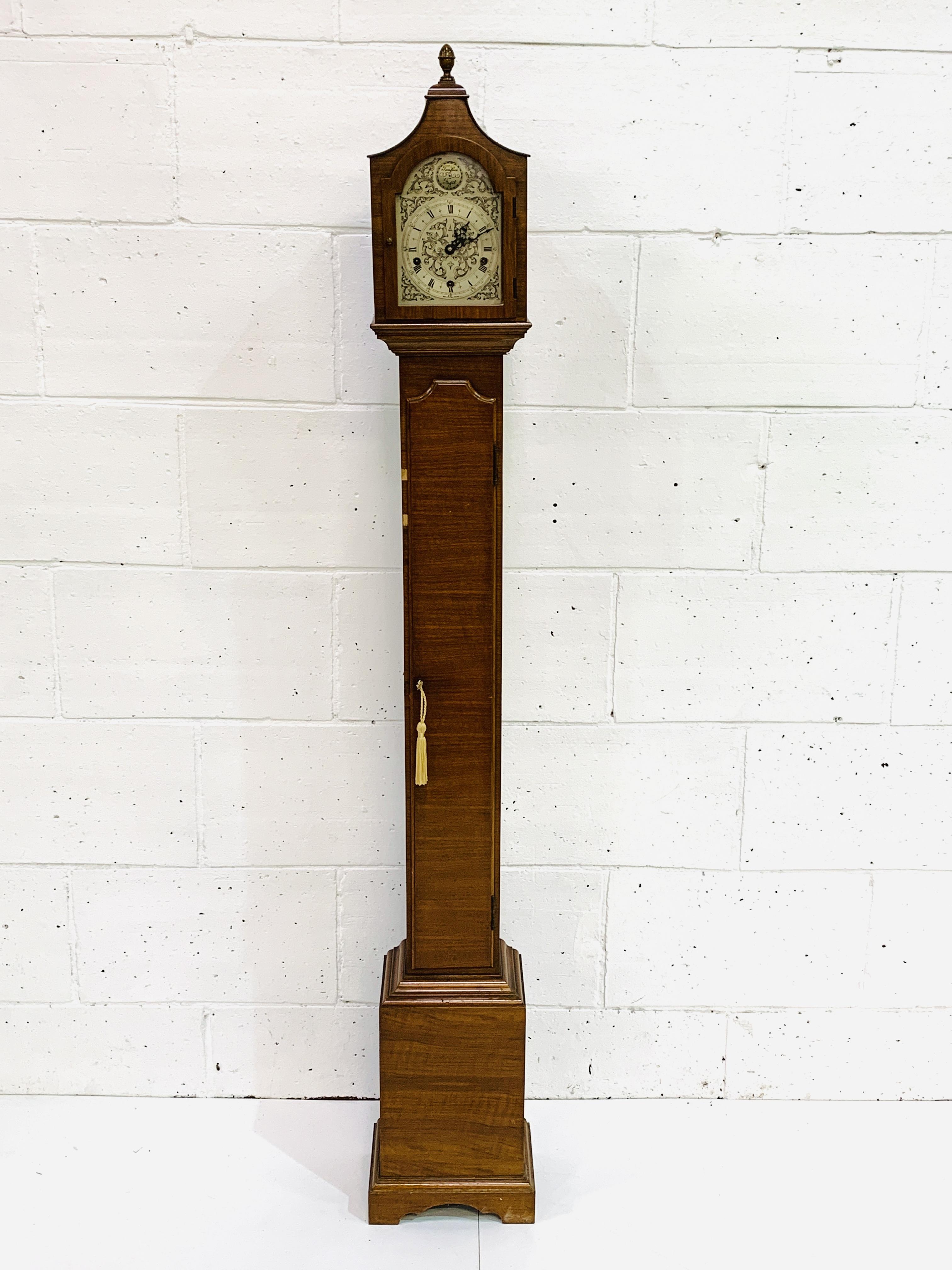 Mahogany veneer cased Grandmother clock