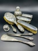 Silver mounted dressing table set and other silver mounted items