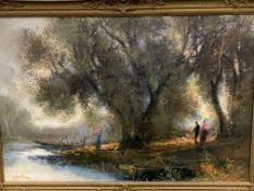 Gilt framed oil on canvas of people and trees by a river, signed O.Fontana