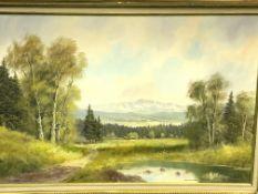 Gilt framed oil on canvas Alpine landscape signed Joseph Fruhmesser