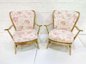 Pair of Ercol rail back armchairs