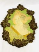 Art Nouveau terracotta wall plaque of a lady's head and shoulders by Ernst Wahliss